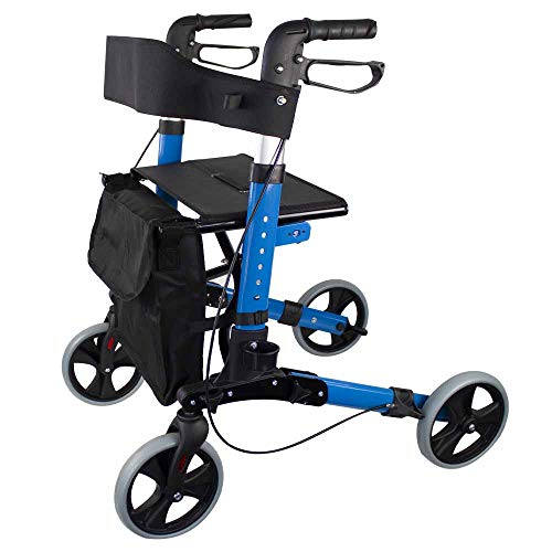 Mobiclinic, Modelo Trajano, Rollator de 4 ruedas, Andador Caminador, Andador para adultos, ancianos, minusválidos, de aluminio, ligero, plegable, con asiento y bolsa, Color Celeste