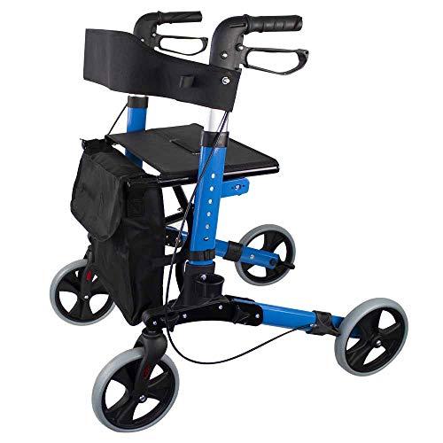 Mobiclinic, Modell Trajano, Rollator mit Bremsen, Klappbare Gehhilfe, Gehwagen für Senioren, Gehhilfe für Behinderte, mit Korb, Leichtgewicht, Sitz, Rückenlehne, Hellblau