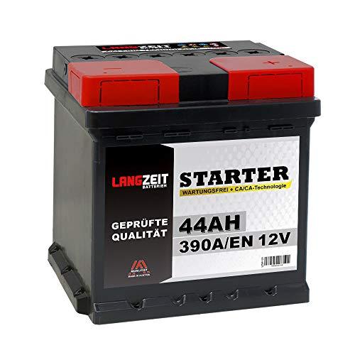 LANGZEIT Autobatterie 12V 44AH 390A ersetzt 40Ah 42Ah 45Ah