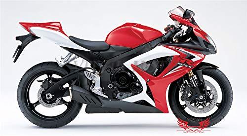 VITCIK Calcomanías para Motos, Adhesivo para Moto GSX-R750 GSX-R600 K6 2006 2007 GSXR 600 750 K6 06 07 calcomanía para carenado (Rojo & Blanco)