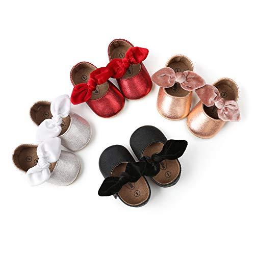 Zapatos planos Mary Jane con bowknot antideslizante suela suave para niños pequeños primeros caminantes princesa zapatos de vestir, dorado (Dorado), 0-6 meses