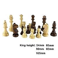 チェスセットボードゲーム 32木のチェスのピースキングハイティブ54/65/80/92 / 105mmチェスゲーム木製チェスマンの大会チェスセット子供大人チェスギフト (サイズ : King height 80mm)