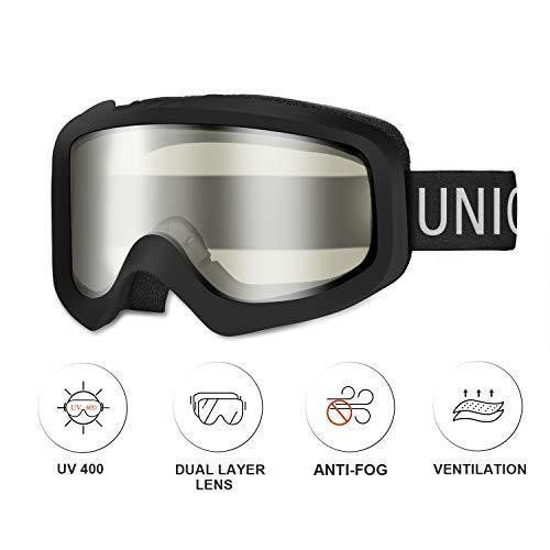 Unigear Skido X1 Ski Goggles, Snowboard Snow Goggles for Men, Women & Youth – Anti-Fog & 100% UV Protection (Clear Lens (VLT 81.7%))