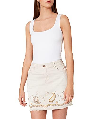 Desigual Fal_Billi Jeans Falda, Blanco, 32 para Mujer