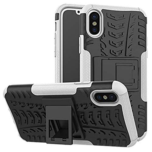 """Capa Capinha Anti Impacto Para iPhone X e XS com Tela de 5.8"""" polegadas Case Armadura Hybrid Reforçada Com Desenho De Pneu - Danet (Branca)"""
