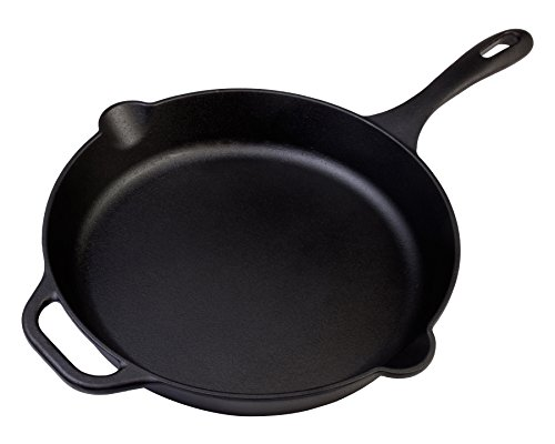 Large Pre-Seasoned Cast Iron Skillet by Victoria, 12-inch Round Frying Pan with Helper Handle, 100% Non-GMO Flaxseed Oil Seasoned, SKL-212