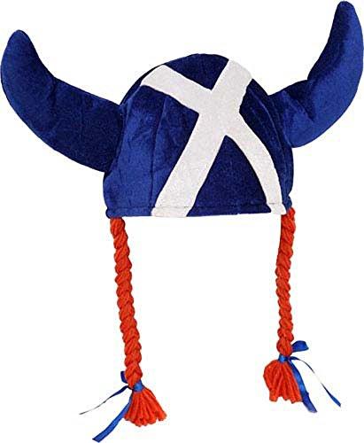 I Luv LTD Fun Jessie Hat Blue Saltire Viking Horns and Pigtails