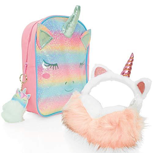 Style Girlz Unicorn Backpack & Earmuffs Set for Girls - Kids Rucksack Bag for School or Travel