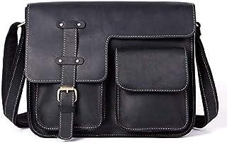 YXHM AU Men's Leather Bag Retro Crazy Horse Leather Cross Section Messenger Bag (Color : Black)