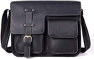 Men's Leather Bag Retro Crazy Horse Leather Cross Section Messenger Bag (Color : Black)