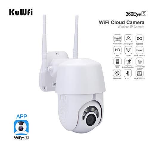 KuWFi 1080P Telecamera Wifi Esterno,Telecamera IP WiFi 2MP 1080P Wireless PTZ Speed Dome CCTV IR Camera Sorveglianza di sicurezza esterna IpCam Camara Esterno