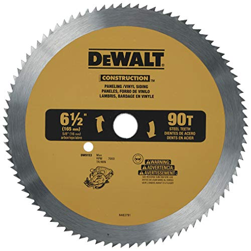 DEWALT 6-1/2-Inch Circular Saw Blade for Paneling/Vinyl, 90-Tooth (DW9153) , Yellow