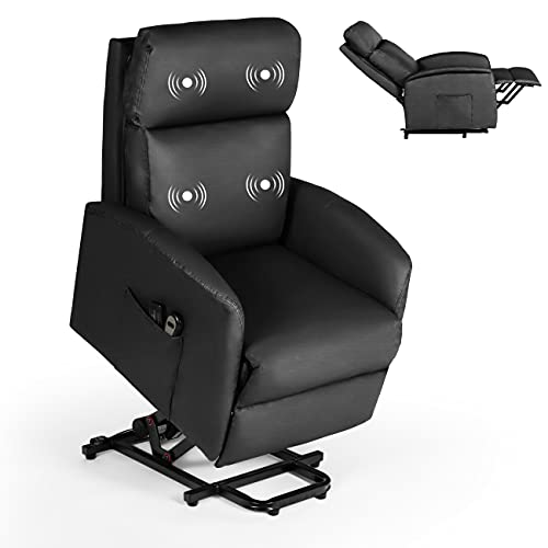 Power Lift Recliner Chairs for Elderly with Massage Ergonomic Lounge Chair PU Leather Sleeper Chair Sofa Recliners for Living Room with Side Pockets (Black, 23.63' L x 27.55' W x 39.37' H)