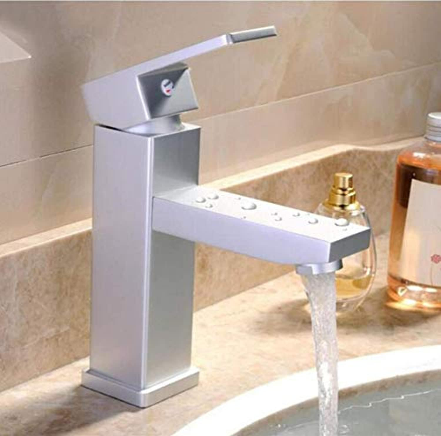Kitchen Brass Hot and Cold Water Faucet Washbasin Mixer Single Handle Bathroom Basin Faucets Square Space Aluminum Faucet Sink Tap