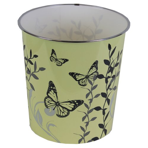 JVL 25 x 26.5 cm Plastic Butterfly Home Novelty Waste Paper Bins, Cream by JVL