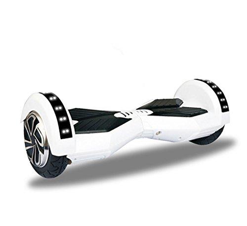 United Trade Elektrische step, zelfbalancerend, balance-skateboard met LED, twee wielen, 8 inch, wit, met UL 2272-certificering, cadeauverpakking