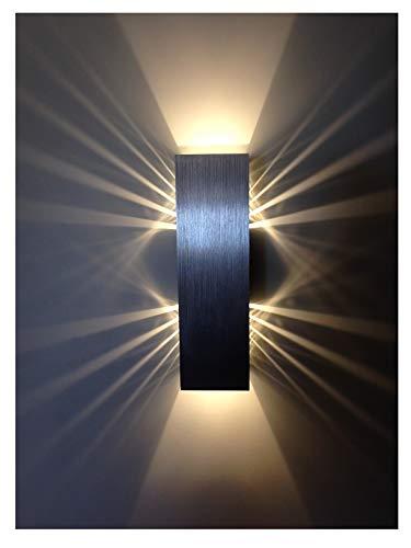 Wandlampe LED dimmbar 6W Wohnzimmer Up and Down Modern Innenbeleuchtung Nachtlicht Alu gebürstet warmweiß | ShineLED-6 SpiceLED