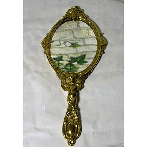 Miroir à Main Miroir grossissant en Laiton Poli Baroque Style Antique Miroir Ange