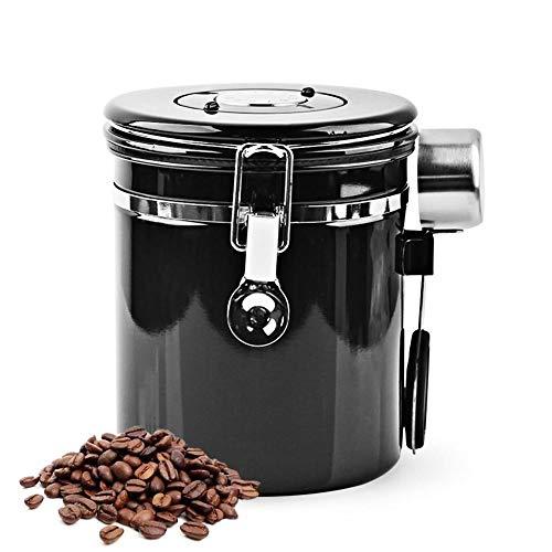 Mocoli Kaffeedose Edelstahl Kaffeedose Luftdicht mit Kaffeelöffel 1,5L Kaffeebohnen Behälter Vorratsdose Vakuum Dose für Kaffeebohnen Pulver Tee Nüsse Kakao Schwarz 500g
