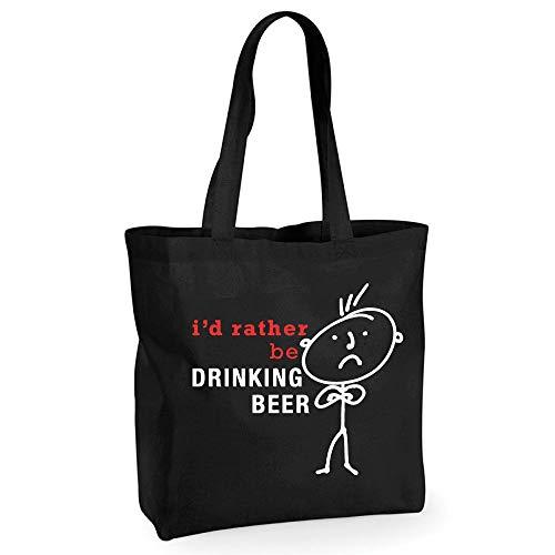 60 Second Makeover Limited Homme I'd plutôt être à boire Bière Coton Noir de qualité Sac shopping Cabas réutilisable Mari Dad Oncle grand-père anniversaire Noël Saint Valentin Cadeau