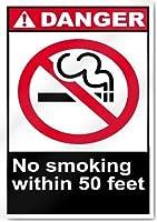ブリキの看板用のアルミニウム金属看板、50フィート以内の禁煙危険看板、ガレージホームガーデンストアバーカフェアキュートのレトロな鉄の絵画金属警告プラークアートの装飾