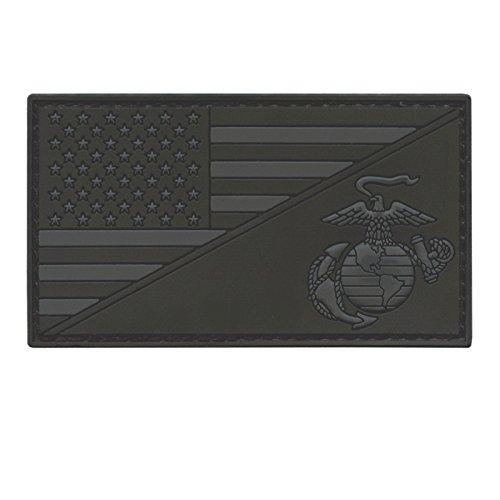 2AFTER1 US Marines All Black USMC USA American Flag Semper Fidelis ACU Dark Subdued Morale PVC Rubber Hook-and-Loop
