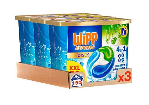 Wipp Express DISCS Detergente en Cápsulas 4 en 1. 50 Discos, Pack de 3, Total: 150 Dosis