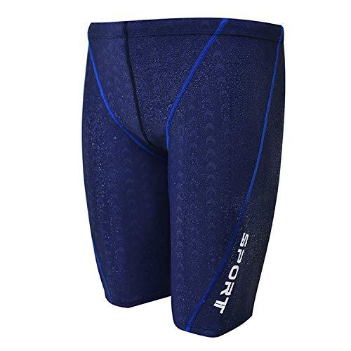 GHFFB Mens Solid Jammer Swim Suit Knee-Length Athletic Swim Trunk Training Swimsuit (Dark Blue, 2XL)