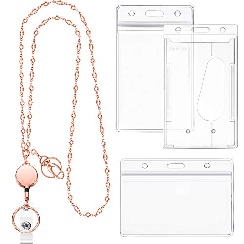 Retractable Badge Reel Lanyard Necklace with ID Holder for Women Beautiful Cruise Stainless Steel Beaded Chain Necklace with 3 Pieces Name Badge Holders (Rose Gold)