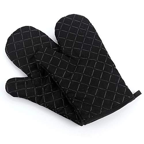 Hawiton Ofenhandschuhe Baumwolle Hitzebeständige Anti-Rutsch Topfhandschuhe Küche Backofen Handschuhe Geeignet für Kochen Backen Grillen Schwarz