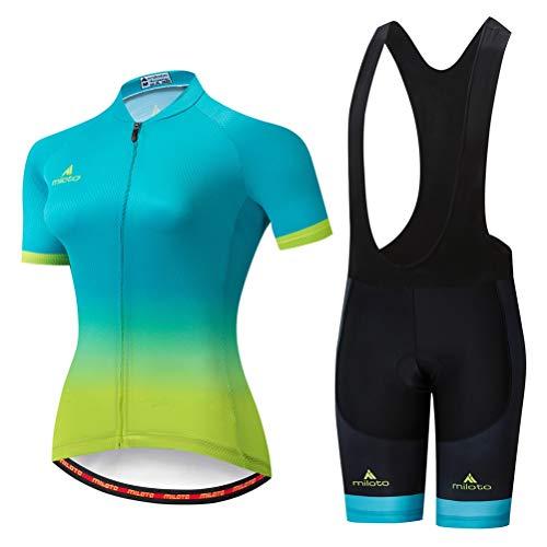 Uriah Women's Cycling Jersey Bib Shorts Sets Short Sleeve Reflective Green Yellow Size M(CN)