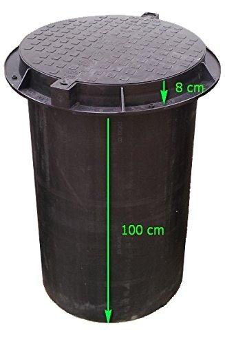 Brunnenschacht, Verteilerschacht, Kontrollschacht, Revisionsschacht, Erdschacht aus Kunststoff komplett mit einem abschließbaren Deckel (ohne Boden) Belastung bis 1,5 t, Schwarz