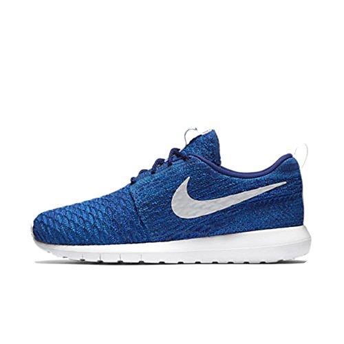 Nike Women's Roshe NM Flyknit QS Running Shoes (6.5 B(M) US, Blue/Metallic Silver)