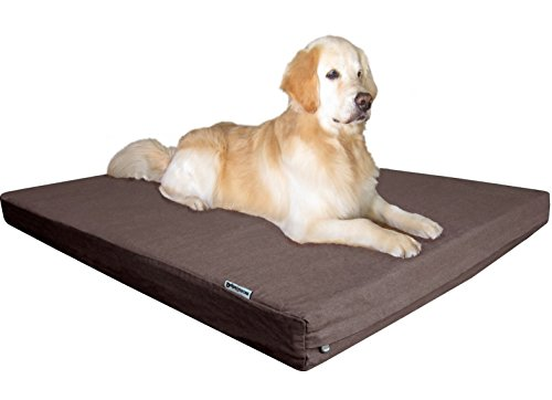 """Dogbed4less Premium Orthopedic Memory Foam Pet Bed for Extra Large Dogs, Washable Durable Denim Cover, Waterproof Liner and Extra Case, Jumbo 55""""X47""""X4"""", Brown"""