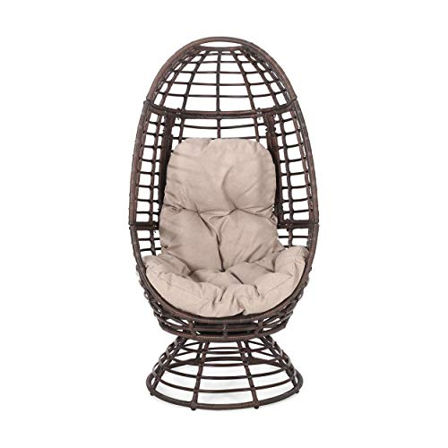 Christopher Knight Home 311448 Frances Outdoor Wicker Swivel Egg Chair with Cushion, Dark Brown, Beige