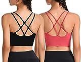 CheChury Sujetador Deportivo Yoga Cruzados Espalda Sin Aros para Mujer V Banda Sujetador de Dormir Sujetador Deportivo Ropa Interior con Tirantes Elásticos Soporte de Espalda,Negro+Rojo,XL