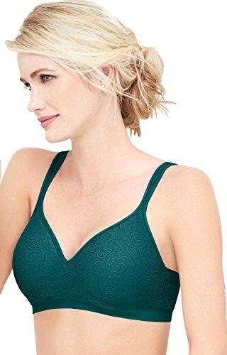 Bali Designs Women's Comfort Revolution Wire Free Bra, Dark Water Teal Swirl, 40C