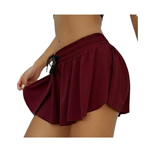 Butt Scrunch - Pantalones cortos de yoga con falda para correr, ciclismo, motero, pantalones cortos para mujer, de secado rápido, pantalones cortos de gimnasio - rojo - Medium