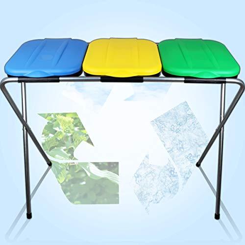Müllsackständer inkl. Deckel/Mülltrennung System/Gelber Sack Ständer/Geeignet für Müllbeutel von 60 – 130 L (3er)