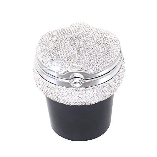 ihreesy Bling Kristall Auto Aschenbecher mit Deckel,Tragbare Zigarette Aschenbecher Halter Tasse mit LED Lichtanzeige Glitzer Diamant Auto Aschenbecher Auto Styling Zubehör,Weiß