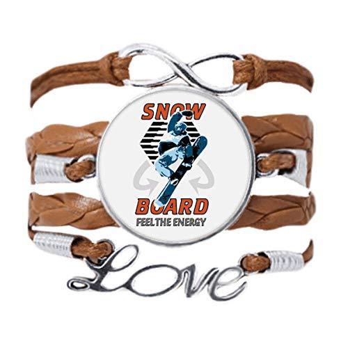 DIYthinker Snow Board Winter Sport Illustration Bracelet Love Chain Rope Ornament Wristband Gift