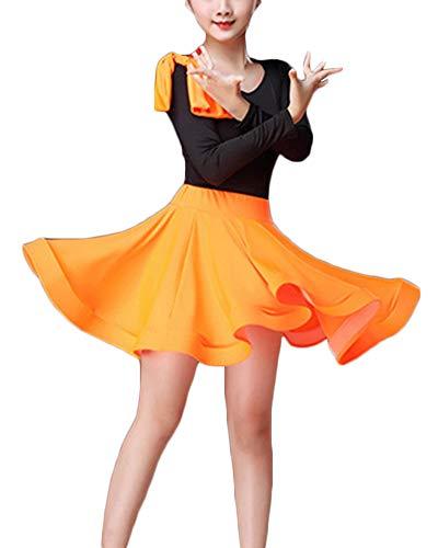 Kinder Latein Tanz Kleid Rock Mädchen Latin Rumba Salsa Tango Performance Kostüme Orange 1 120