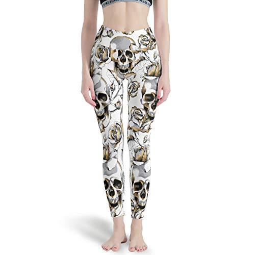 Bannanabut Skull - Pantalones de yoga para mujer, cintura alta, control de la barriga, para yoga