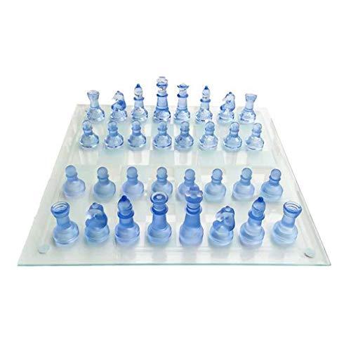 RKL Ajedrez de Cristal K9, exquisitas Piezas de ajedrez de Cristal Azul Transparente, Especial para Juegos Infantiles, Juego de Mesa para Amigos