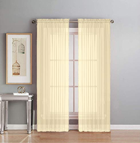 Interior Trends 2 Piece Fully Stitched Sheer Voile Window Panel Curtain Drape Set (84' Long, Beige)