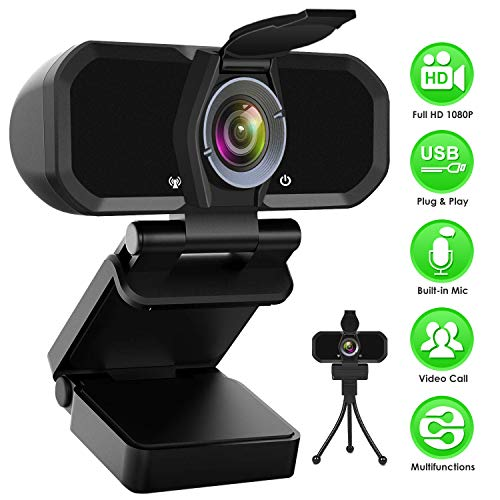 HD Webcam 1080P Streaming Web Camera with Microphone, USB Webcams with Privacy Shutter and Tripod Stand, Widescreen Video Calling and Recording Computer Camera, PC Mac Desktop or Laptop Webcam
