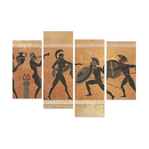WDDHOME 4 Stücke Leinwand Gedruckt Schwarz Keramik Antike Griechische Mythologie Gemälde Für Wände Kein Rahmen Wohnzimmer Büro Hotel Wohnkultur Geschenk