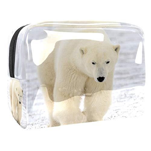 Sac de rangement de lavage Ours Blanc Animal Blanc Trousse de Maquillage Étanche Pochette de Toilette Femme Sac à Crayons Cosmétique Rangement de Voyage 18.5x7.5x13cm