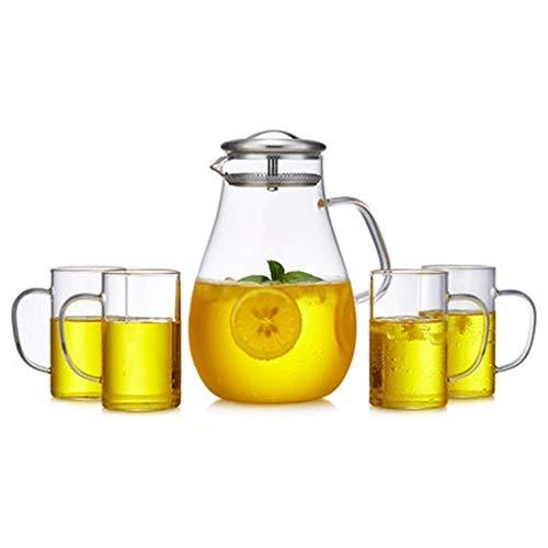 DX Glazen kan 2 liter, ijsthee theepot, grote capaciteit en duurzaam, zeer geschikt voor ijsthee, wijn, koffie, melk en sap flessen, sap theepot, glas (kleur: C)