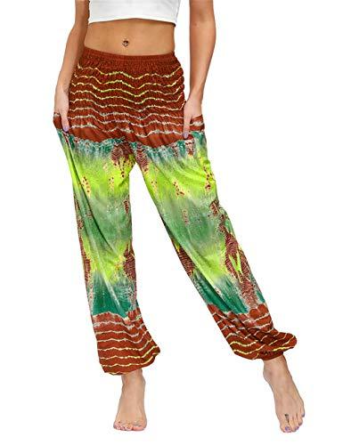 AMOMA Damen Aladdin Hose Elastische Taille Freizeit Pumphose Haremshose Yogahosen mit Taschen(One Size,125BrownGreen)